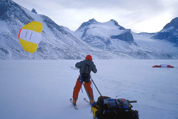 Andrew and his partner used kites to reach ski lines on Baffin Island.