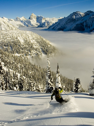 Julie ripping powder at Rogers Pass.
