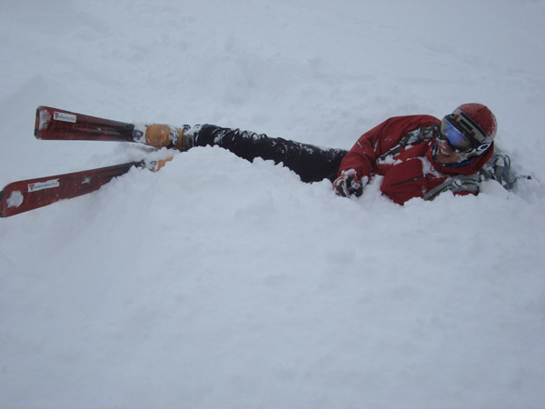"""Digging a snow pit Slovak style."" Digger Stano Faban, photo Jeff Colvin."