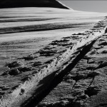 """This is a photo of a skintrack up to Sapphire Col earlier this year.  I took it because I always take pictures of my travels while touring and this just happened to be the right time of day for great shadows and texture. The ridge on the left leads up to Castor Peak. Great day with great friends!"""