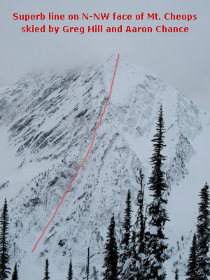 I took this photo to show you one of the coolest lines skied at Rogers Pass. Greg and Aaron did two rappels over ice falls to accomplish this first decent.