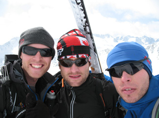 Atop the highest peak on the race course, from left - Alex Wigley, James Minifie, Stano Faban.