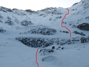 Delirium Dive line that was skied in the race.