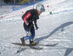 Nina Silitch in the Pila World Cup sprint race in Italy, December 2009 with her Pierre Gignoux boots.