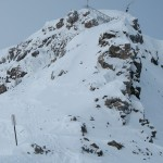 """Stairs that led racers down to a little col to start the descent of the """"feared"""" Delirium Dive."""