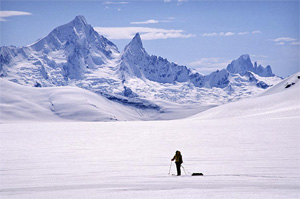 Mt Burkett and Devils Thumb, Stikine Icefield, Coast Mountains. Photo by John Baldwin.