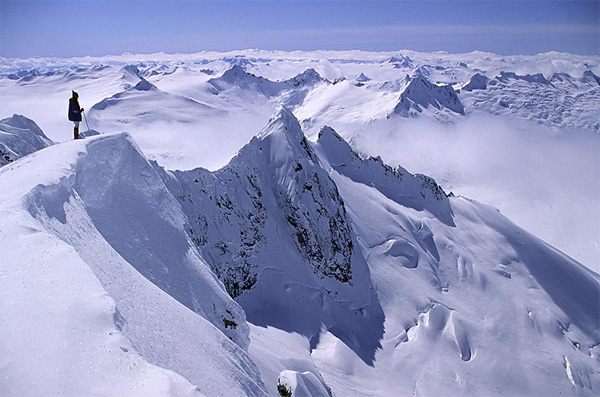 Near Mt Ogilvie, Juneau Icefield, Coast Mountains. Photo by John Baldwin.