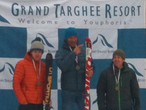 Mens podium at Grand Targhee Ski Mountaineering Classic.