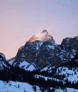 Winter sunset over Grand Teton.
