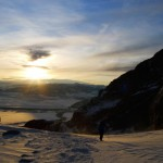 Grand Teton winter sunrise, skinning in the morning.