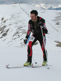 Reiner Thoni racing in Andorra skimo World Champs 2010.