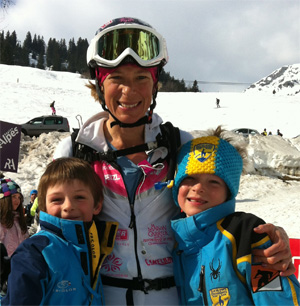 Nina Silitch with sons at Pierra Menta 2012.