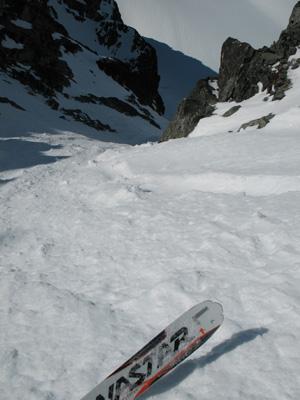 Skiing Aussie Couloir