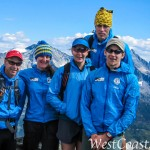 Steve (in red cap) with part of the Canadian team atop Mt Cheops in Rogers Pass, BC. Photo from Brad Schalles (Sep 15, 2012).