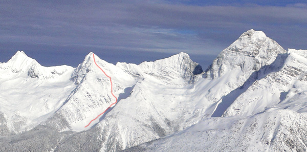 Our line off Eagle Pk. To the left is Avalanche Mountain and to the right is Sir Donald.