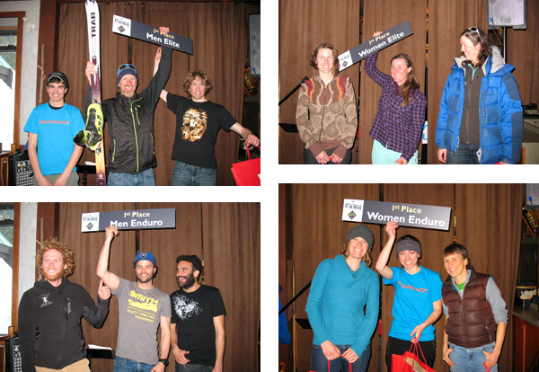 Final podiums at the Dogtooth Dash  - The GORE-TEX 2013 Ski Mountaineering Championships.