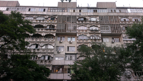 Soviet Union era apartment buildings in Bishkek.
