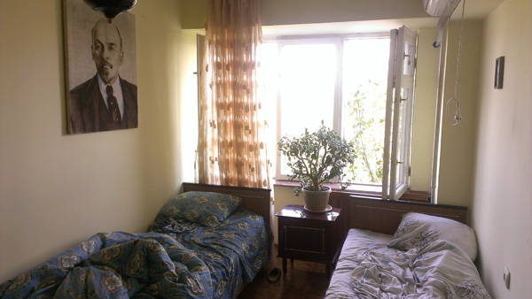 The hilarious USSR Hostel in Bishkek.