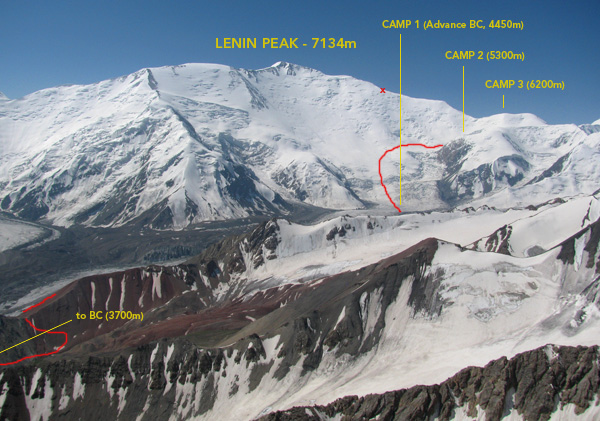 The red lines show how we got from BC to Camp 2 (hidden behind a ridge). From Camp 3 I followed the obvious ridge, and the X shows where I turned around. BTW, the ridge and the summit are in Tajikistan.