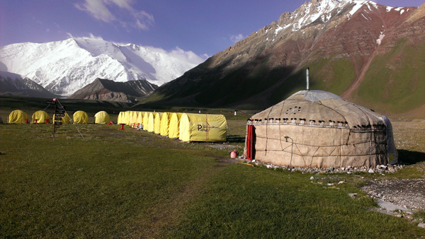 Our base camp (3700m) at Lenin. The Peak is the highest point in the middle.