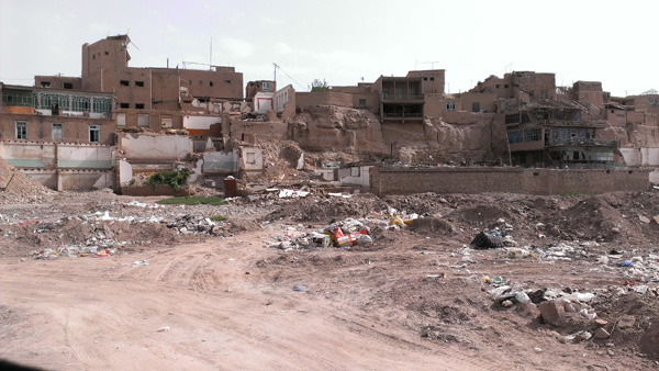 The old Kashgar is getting torn down really fast. The government says the building are unsafe. Who knows.