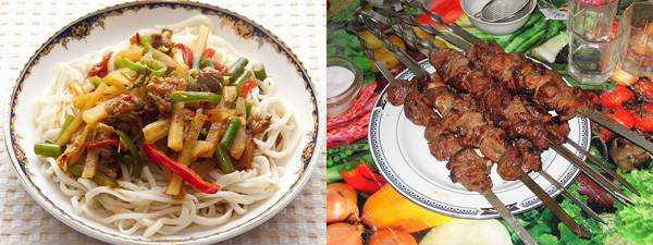 Langam and shashlik. Pics are from Wikipedia but ours looked identical.