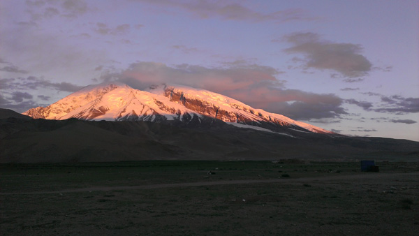 Muztagh Ata at sunset.