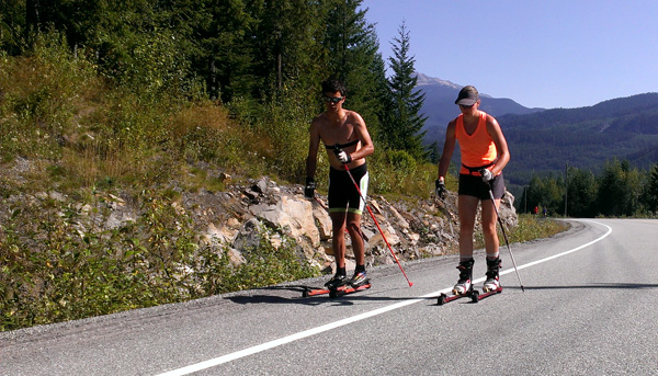 Eric Carter with Melanie Bernier roller skiing.