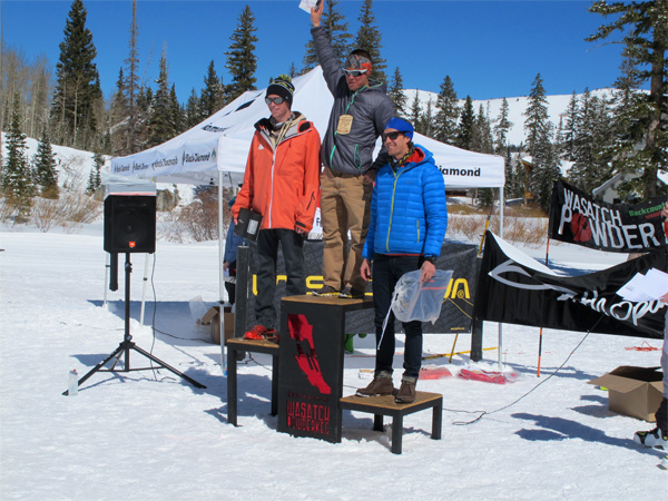 Max took the the overall at 2013 Wasatch Powder Keg, with John second (left), and Tom Goth third (right).