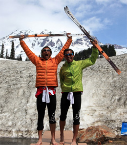 Uber happy Andy and Jason Dorais after setting the FKT on Rainier. (Photo from Jason's blog.)
