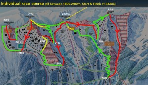 Individual race course map - Green is skinning, Red skiing, Yellow boot-packs.