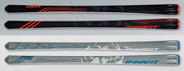 New Dynafit DyNA Race at the top, and the new PDG skis at the bottom.