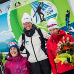 Melanie on the World Cup podium (right side) after placing 3rd in a sprint in Feb 2014.