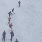 Racers climbing the first ascent at Vertfest Alpental