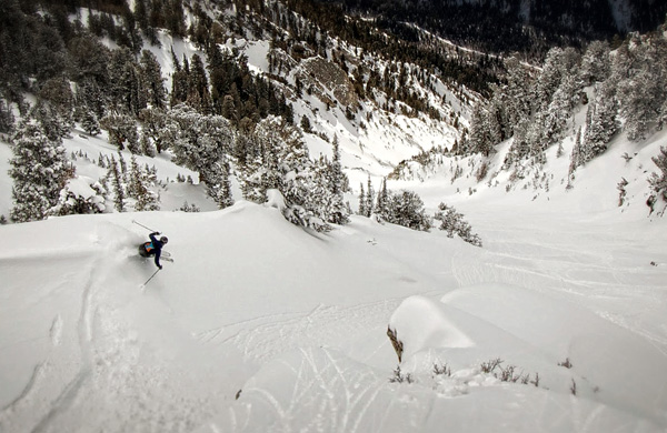 Despite a lackluster winter in the Wasatch, there was still some fun steep skiing to be had late season. Photo by Jason Dorais