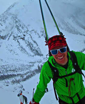 Travis doing what skimo racers can call training - ski touring.