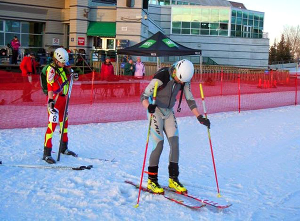 Peter chasing Travis at the 2014 Canadian Skimo Cup final race.