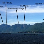 The Howe Sound Crest Trail mostly follows the ridge crest in this photo from the ferry.