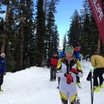 Lindsay Plant shortly after crossing the line in first at the Crested Butte vertical race.