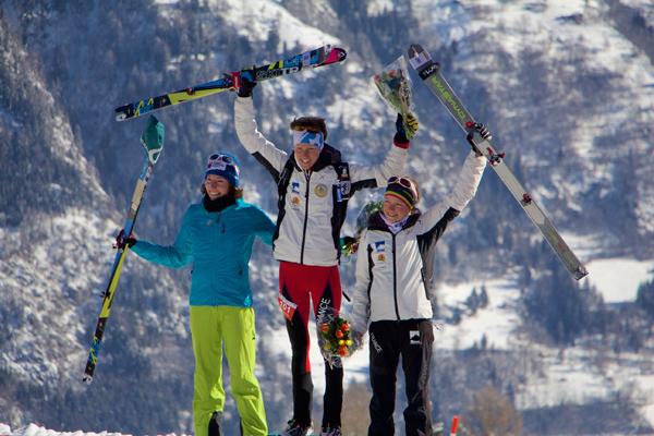 Ladies podium from left - 2nd Maude Mathys, 1st Laetitia Roux, 3rd Axelle Mollaret. Photo Eric Carter.