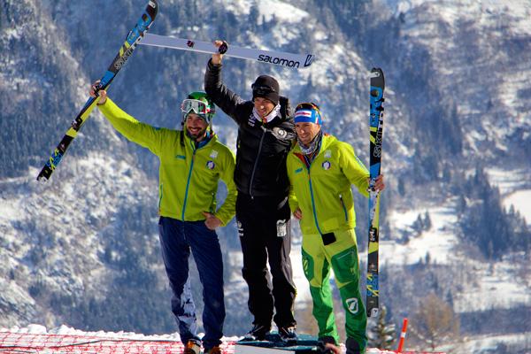 Men's podium - 2nd Robert Antonioli, 1st Kilian Jornet, 3rd Matteo Eydallin. Photo Eric Carter.