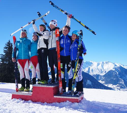 Women's teams race podium.