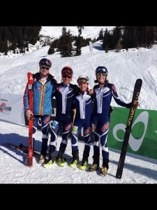 The top American men and women in the Teams race. (L-R) John Gaston, Max Taam, Jessie Young, Lindsay Plant.