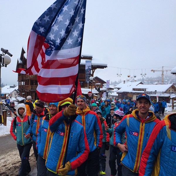 Team USA strolling the streets of Verbier during the opening ceremonies. Photo from Andy Dorais.