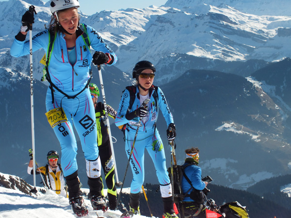 Emelie Forsberg with Axelle Mollaret trying to chase Roux and Miro. Photo by Jennie Bender.