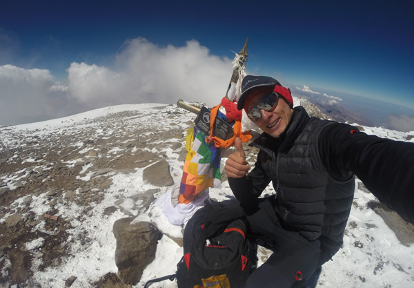 Karl on the summit of Aconcagua.