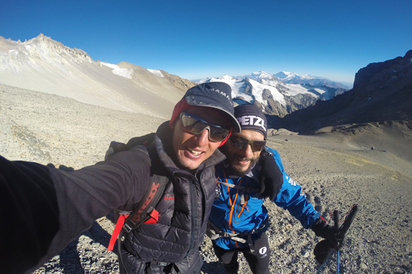 Training with his running partner on Aconcagua.