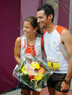 Stevie with Kilian Jornet after winning at Zinal, Switzerland.