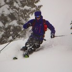 Storm skiing in Coast Mountains, BC.