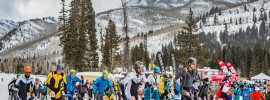 The field takes off at Outdoor Retailer skimo event. Myke Hermsmeyer photo.